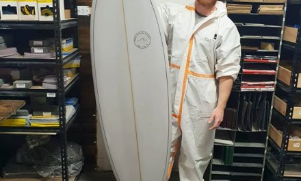 Dane finished up with a little 5'7 Groveller with a light transparent Greg cut lap with a fin line black pin
